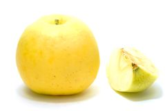 Yellow Apple and Core Stock Image