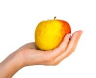Yellow apple on female palm Stock Photos