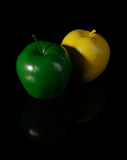 Yellow apple and green apple. Stock Photo
