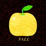Yellow apple with inscription Fall. Stock Photography