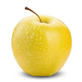Yellow apple isolated on white background with water drop in full depth of focus with clipping path. Perfect fesh yellow apple isolated on white background with Stock Photo