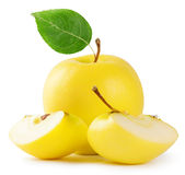 Yellow apple with leaf Royalty Free Stock Photography
