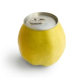 Yellow apple with metallic can. Isolated on white background royalty free stock images