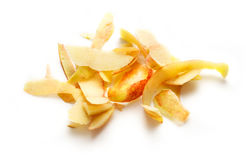 Yellow apple peelings. On the white background Stock Images