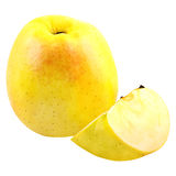Yellow apple and slice isolated on white background. Isolated fruits. Yellow Apple isolated on white with a clipping path as package design element. Healthy royalty free stock image