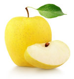 Yellow apple with slice and leaf Royalty Free Stock Images