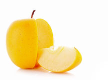 Yellow apple sliced isolated Royalty Free Stock Images