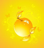 Yellow apple, vector illustration Royalty Free Stock Images