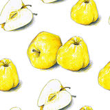 Yellow apples fruits are isolated on a white background. Color sketch felt-tip pens. Healthy food. Handwork. Fast schematic drawing. Seamless pattern for Royalty Free Stock Images