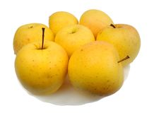 Yellow apples, isolated Royalty Free Stock Photography