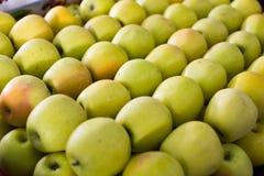 Yellow apples on the market Stock Photo