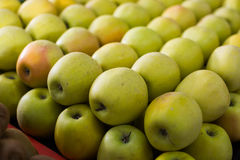 Yellow apples on the market Royalty Free Stock Photo