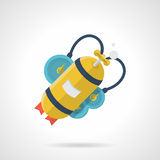 Yellow aqualung flat style vector icon Stock Photography