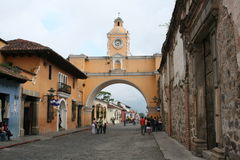 Yellow Arch in Antigua Guatemala Royalty Free Stock Photography