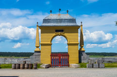 Yellow Arch. Image of a beautiful Yellow Arch against a bright blue sky Stock Images