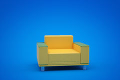 Yellow armchair. Yellow leather chair in a blue room Stock Image