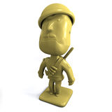 Yellow army man 3D. A 3D render of a yellow army man; isolated on white Background stock illustration