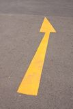 Yellow arrow. Arrow yellow curve on the road, turn the arrow symbol Stock Photos