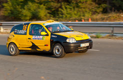 Yellow arrow. Rally Old Capital is the oldest automobile race in Bulgaria. Held from 1970 until today Stock Photography