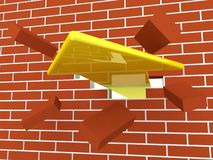Yellow arrow breaking brick wall Stock Image