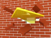 Yellow arrow breaking brick wall. 3d render of yellow arrow breaking brick wall Stock Image