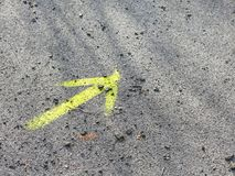 Yellow arrow marking Way of Saint James Royalty Free Stock Photos