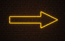 Yellow arrow neon Royalty Free Stock Photo