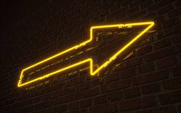 Yellow arrow neon Stock Image