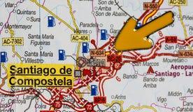 Yellow arrow pointing at Santiago de Compostela. On Camino de Santiago, Spain Royalty Free Stock Photo