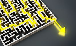 Yellow arrow successfully navigating trough the labyrinth. 3D illustration.  Stock Images