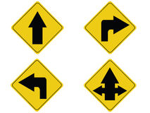 Yellow arrow traffic sign Royalty Free Stock Image