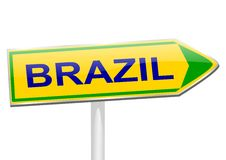 The yellow arrow with the word Brazil Royalty Free Stock Photo