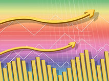 Yellow Arrows Background Shows Up Increase And Data Stock Image