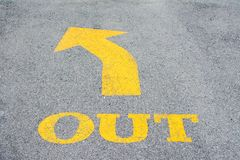 Yellow arrows in the road wall direction stock photography