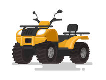 Yellow ATV. Four-wheel all-terrain vehicle. Quad bike on the iso Royalty Free Stock Photography