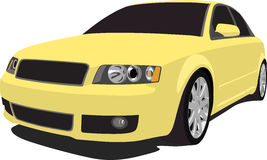 Yellow Audi S4. A vector illustration of a German Audi S4 isolated on white. Clipping path on vehicle stock illustration