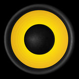 Yellow audio speaker isolated on black background Stock Photography
