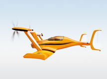 Yellow autonomous flying drone taxi flying in the sky Stock Photography