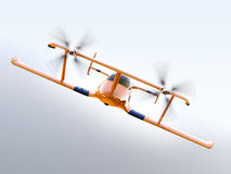 Yellow autonomous flying drone taxi flying in the sky Royalty Free Stock Photo