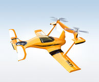 Yellow autonomous flying drone taxi flying in the sky Royalty Free Stock Image