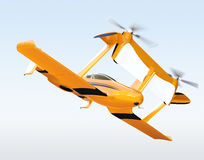 Yellow autonomous flying drone taxi isolated on white background Stock Photo