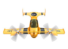 Yellow autonomous flying drone taxi isolated on white background Royalty Free Stock Photography