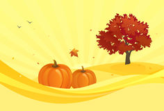 Yellow autumn background. Illustration of an autumn yellow background with pumpkins and red foliage tree Stock Images