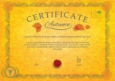 Yellow autumn official certificate. Grunge background. Leaves, wafer, ornamental guilloche border Stock Photography