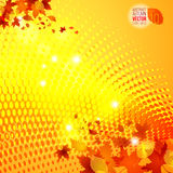 Yellow autumn template vector halftone background 1 Royalty Free Stock Photo