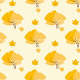Yellow autumn tree pattern flat icon vector Royalty Free Stock Photography