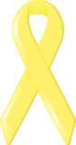 Yellow Awareness Ribbon. Yellow satin awareness ribbon, symbolizing support of various causes including Support Our Troops, equality, and suicide awareness and Stock Photos