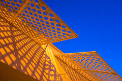 Yellow awning with blue sky Royalty Free Stock Image