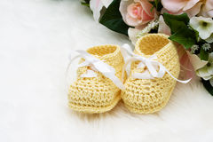 Yellow Baby Booties Stock Photo