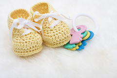Yellow Baby Booties Stock Photos